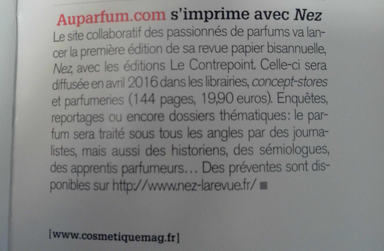 Presse – Cosmétiques magazine – Décembre 2015