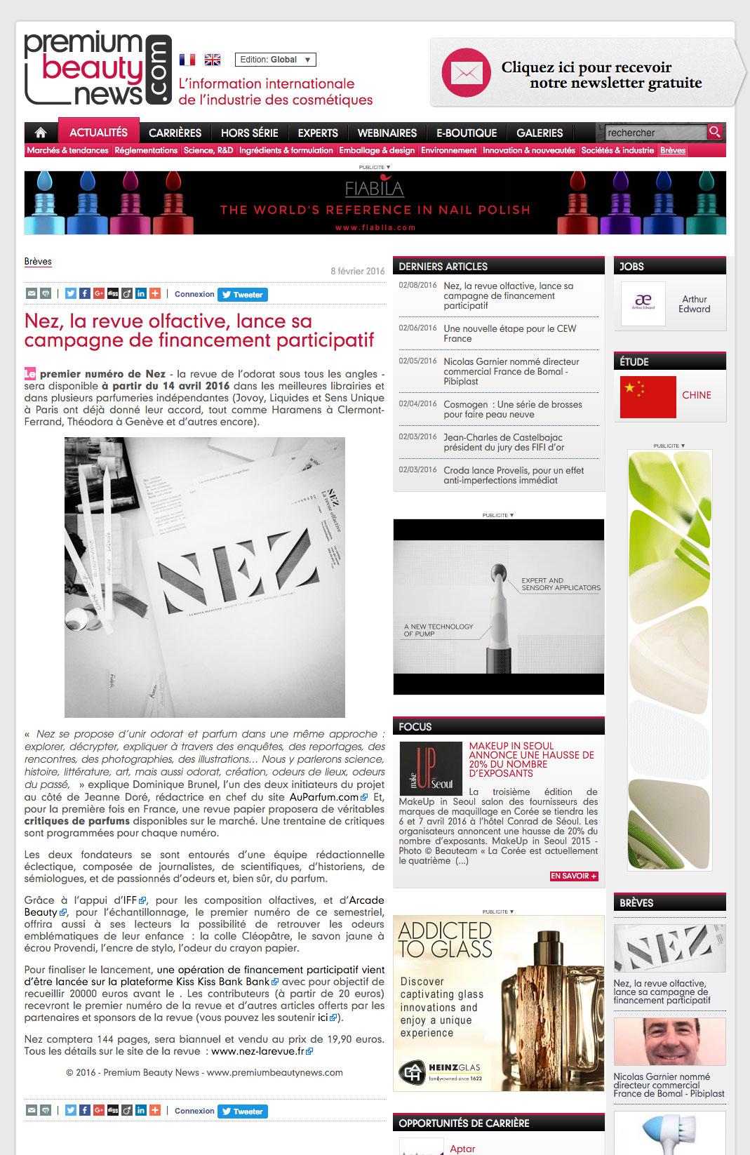 NEZ est dans Premium Beauty News